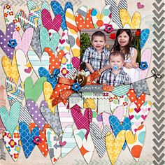 Lots of hearts could be made from scraps. maybe for the wedding day scrapbook? Kids Scrapbook, Scrapbook Page Layouts, Scrapbook Paper Crafts, Scrapbook Cards, Scrapbooking Ideas, Kids Pages, Scrapbooks, Making Ideas, Hobbit