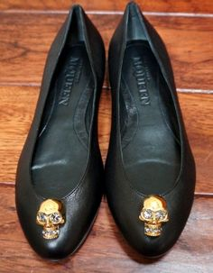 Alexander McQueen Black Scarpa Pelle s Gomma Flats Size 8 5 Stunning | eBay