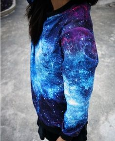 Galaxy Print Sweatshirt with Long Sleeves - Sweatshirts & Hoodies - Clothing
