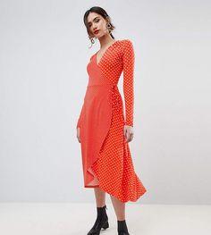 ASOS Tall ASOS TALL Midi Wrap Tea Dress With Long Sleeves In Polka Dot. #ad #ShopStyle #asos #fashion #style #dress #mididres #polkadotdress