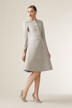 Ladylike with a touch of whimsy. Gray is understated and yet, perfect. Carolina Herrera Resort 2017 Button Down Cocktail Dress with Flower Brooches