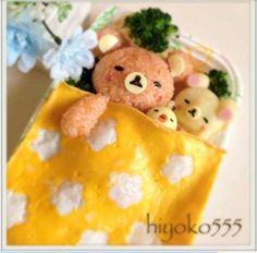 Rilakkuma character box lunch (this one is Omurice, contemporary Japanese cuisine consisting of an omelette made with fried rice) Japanese Bento Box, Japanese Food Art, Edible Food, Edible Art, Kawaii Cooking, Cute Bento Boxes, Kawaii Bento, Cute Food Art, Bento Recipes