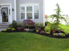 33 Amazing Front Garden Landscaping Ideas Fresh Looks - Designing a front yard is usually about accessibility and invitation. We spend hardly any time in the front yard as opposed to the backyard, but it is. Front Garden Landscape, Small Front Yard Landscaping, Front Yard Design, House Landscape, Flower Landscape, Front Yard Walkway, Small Front Yards, Garden Front Of House, Landscape Stairs