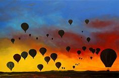 "LIGHTER THAN AIR  Medium: Acrylic on Canvas Size: 24"" x 36"" x 1.5"" www.bryandub.com original painting, original art, hot air balloons"