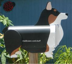 Corgi Mailbox, Unique mailbox that is shaped like and custom painted like a Corgi Dog Unique Mailboxes, Painted Mailboxes, Corgi Dog, Custom Paint, Bookcase, Projects To Try, House Ideas, Shapes, Pets