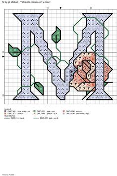 alfabeto celeste con le rose: M