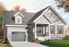 Discover the plan 3271 - Dahlia from the Drummond House Plans house collection. Craftsman bungalow house plan with open floor plan concept, bonus space (bedroom or else) and garage. Total living area of 1054 sqft.