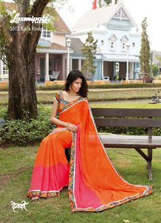 Mixture of orange and pink color with fabulous printed lace- blouse adds charm in the saree.