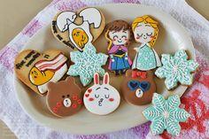 line cookies frozen cookies and gudetama cookies