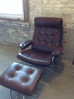 Mid Century Ekornes Brown Leather Recliner Chair - Danish Modern Chair -  EKORNES Stressless Swivel & Vintage 70u0027s Chrome Ekornes Stressless Recliner Lounge by midcmad ... islam-shia.org