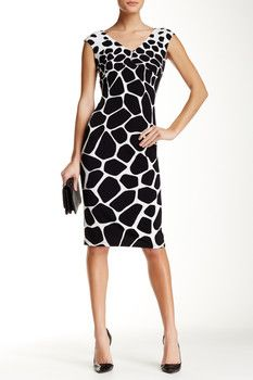 Maggy London Cap Sleeve Giraffe Print Midi Dress