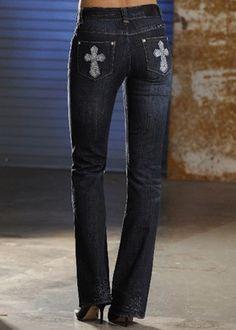 Rock & Roll Cowgirl Bling Cross Pocket Jean