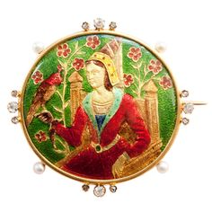 Lady with a Falcon 'Basse Taille' Enamel, 18k Gold, Pearl And Diamond Brooch - France  c. 1880