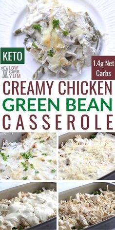 Keto Chicken Green Bean Casserole An easy low-carb and gluten-free recipe for chicken green bean casserole. It's perfect for a quick family meal that everyone will enjoy. Low Carb Chicken Recipes, Healthy Low Carb Recipes, Low Carb Dinner Recipes, Beef Recipes, Keto Chicken, Easy Low Carb Meals, Low Carb Chicken Casserole, Keto Casserole, Keto Dinner