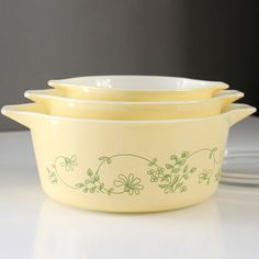 Vintage Pyrex Shenandoah Cinderella Casseroles - 1982. I'd like to see this set in person so I can decide whether or not I like it.