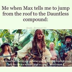 Jump off a roof into an unknown fate or become factionless. Something tells me Dauntless is crazy. Divergent Memes, Divergent Hunger Games, Divergent Fandom, Divergent Trilogy, Divergent Insurgent Allegiant, Insurgent Quotes, Tfios, Eric Divergent, Veronica Roth