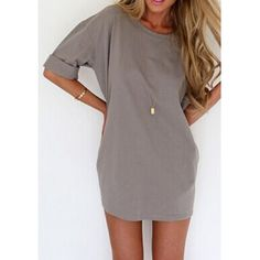 $9.15 Casual Scoop Collar Half Sleeve Solid Color Loose-Fitting Women's Dress