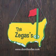 """Masters golf Door Doodle; front door hang hanger hanging, wood wooden sign, custom, personalized.  22""""x22""""; decoration wreath"""