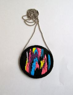 Multicolored embroidered pendant necklace by #AnAstridEndeavor