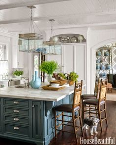 Love the lanterns, Carrera marble, painted island (looks like MMSMP Kitchen Scale) via South Shore Decorating Blog