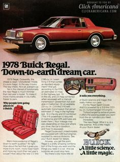 1978 Buick Regal. Down-to-earth dream car.  Great cars!