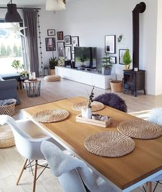 Cool living room. Simple, white walls and modern furniture