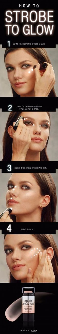 Cool DIY Makeup Hacks for Quick and Easy Beauty Ideas - Strobe To Glow - How To Fix Broken Makeup, Tips and Tricks for Mascara and Eye Liner, Lipstick and Foundation Tutorials - Fast Do It Yourself Beauty Projects for Women http://diyjoy.com/makeup-hacks