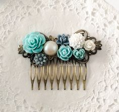 Blue Wedding Hair Comb Turquoise Blue Gray Ivory White Flower Headpiece Affordable Bridesmaid Gift Shabby Chic Floral Bridal Hair Slide by Jewelsalem
