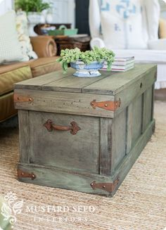 Pottery Barn Knock Off Trunk Coffee Table   Follow the video tutorial to learn how to distress furniture with milk paint!