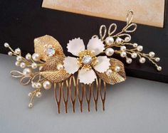 Rose Gold pearl comb  crystals and pearls comb wedding pearl