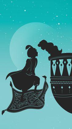 Paper-cut Inspired Disney Princess image- Aladdin and Jasmine