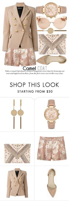 """WEAR A CAMEL COAT! #2"" by noraaaaaaaaa ❤ liked on Polyvore featuring Isabel Marant, Michael Kors, LULUS, MANGO, Balmain, Nly Shoes and Linda Farrow"
