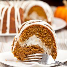 Pumpkin Cream Cheese Bundt Cake with cream cheese glaze.