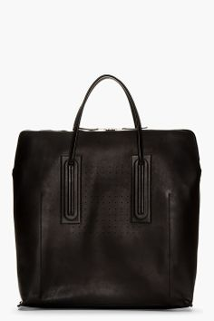 RICK OWENS Black Oversize Leather Tote