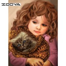 ZOOYA Diy Diamond Painting People Full Square Drill Cross Stitch Cross Painting Mountain Crystal Paste Painting Sweetheart Girl Home Decor F237 (China)
