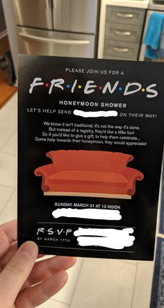 Our Friends themed honeymoon bridal shower invites are here Posted by essehkay Wedding Party Invites, Country Wedding Invitations, Bridal Shower Party, Wedding Wishes, Bridal Shower Invitations, Party Invitations, Friends Themed Wedding, Friend Wedding, Bachelorette Party Planning
