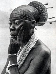 Africa   Queen Nenzima of the Mangbetu people of Congo.    From the Secret Museum of Mankind Volume 2. Published 1935