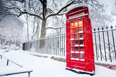 #British #England #Red #Telephone #Snow #Beautiful