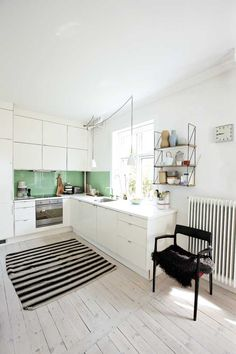 simple danish modern kitchen, glass backsplash #white #kitchen #danishmodern #glassbacksplash