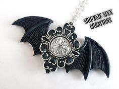 Time Flies Pendant: Gothic Bat Wings Clock by SiouxsieSixxCreation