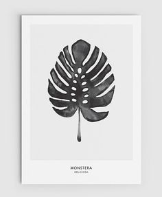 Monstera, Cheese Plant Leaf - PRINTABLE FILE. Tropical Leaf Printable Poster.Exotic Leaf Print. Monochrome Art. Nordic Minimalist Print. Scandinavian