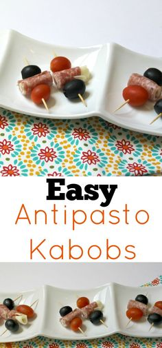 These easy antipasto kabobs are such a quick appetizer to throw together for summer BBQs. Grab the recipe today! Best Appetizer Recipes, Quick Appetizers, Appetizers For Party, Snack Recipes, Drink Recipes, Delicious Recipes, Snacks, Antipasto Kabobs, Party Finger Foods
