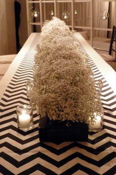is this a budget cutting option? Wedding Table Centres, Wedding Flower Arrangements, Wedding Boxes, Our Wedding, Wedding Flowers, Dream Wedding, Diy Centerpieces, Centerpiece Wedding, Chevron Table Runners
