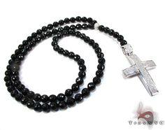 Black Bead with Pave Diamond Rosary Chain