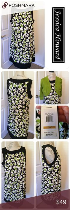 """Jessica Howard Dress with Bolero Jessica Howard summer shift dress, sleeveless, zip back. Size 16W, worn once. Bright spring print of black, white and green. Comes with bolero sweater in bright green that still has original tags. Purchased at Macy's for $99. Dress measures 37"""" long and 23"""" from armpit to armpit. Change the look by pairing with a black blazer. 👗NO holds, trades or offline transactions 👗 PRICE IS FIRM 👗 Jessica Howard Dresses"""