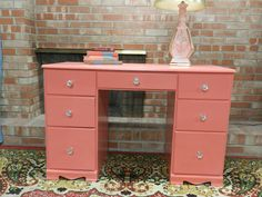 Coral desk makeover in Sherwin Williams Begonia.just like the desk we have at church! Colorful Furniture, Find Furniture, Custom Furniture, Furniture Makeover, Painted Furniture, Bedroom Furniture, Refurbished Desk, Office Makeover, Big Girl Rooms