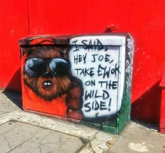 Brighton street-art / graffiti: A graffitied Ewok on an old BT junction box near Brighton railway station