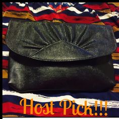 """Host Pick Black Metallic Clutch  It's hard to give up, but needs some love from someone who will use it! 9.5"""" W. 6"""" long. Just a single button, envelope style. Roomy enough for card case, phone, gloss, etc. Boutique Bags Clutches & Wristlets"""