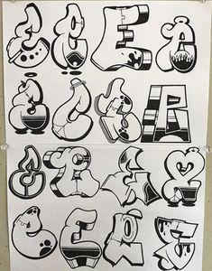No photo description available. Graffiti Numbers, Graffiti Alphabet Styles, Graffiti Lettering Alphabet, Graffiti Writing, Tattoo Lettering Fonts, Graffiti Designs, Doodle Lettering, Graffiti Room, Graffiti Piece