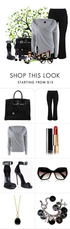 """look159"" by francitaeg ❤ liked on Polyvore featuring Hermès, Zizzi, BP., Chanel, Dsquared2, Prada, Effy Jewelry, Louis Vuitton and Kenneth Jay Lane"